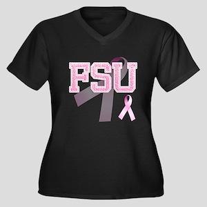 FSU initials, Pink Ribbon, Women's Plus Size V-Nec