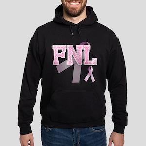 FNL initials, Pink Ribbon, Hoodie (dark)