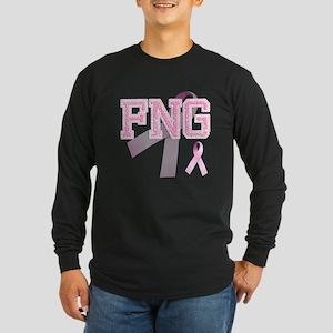 FNG initials, Pink Ribbon, Long Sleeve Dark T-Shir