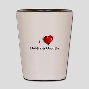 Love Debits Credits Shot Glass