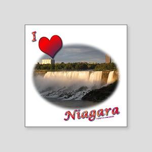 "I Love Niagara Square Sticker 3"" x 3"""