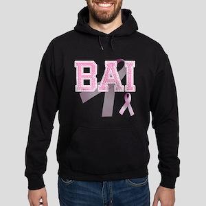 BAI initials, Pink Ribbon, Hoodie (dark)