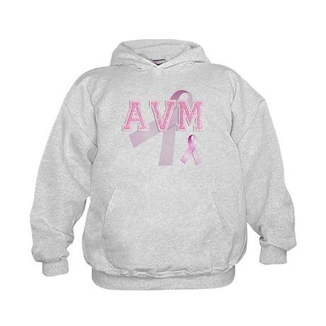AVM initials, Pink Ribbon, Kids Hoodie