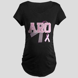 ARO initials, Pink Ribbon, Maternity Dark T-Shirt