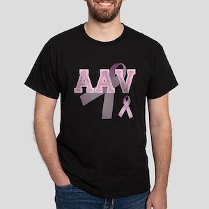 AAV initials, Pink Ribbon, Dark T-Shirt