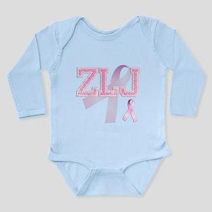 ZLJ initials, Pink Ribbon, Long Sleeve Infant Body