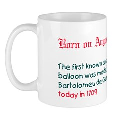Mug: First known ascent in a hot-air balloon was m