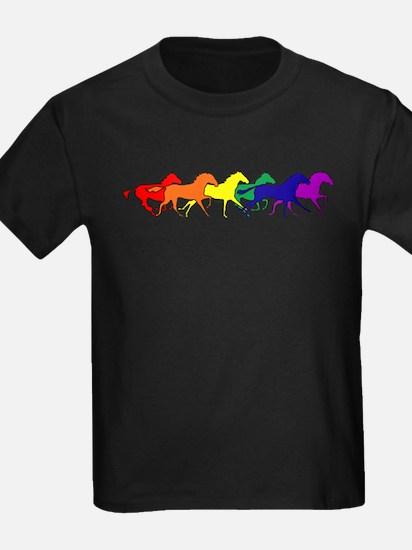 horses running rainbow T-Shirt