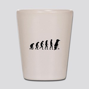 Humans evolve into penguins Shot Glass