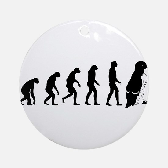 Humans evolve into penguins Ornament (Round)