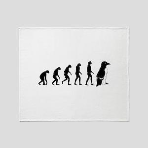 Humans evolve into penguins Throw Blanket