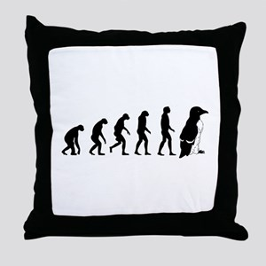 Humans evolve into penguins Throw Pillow