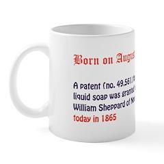 Mug: A patent (no. 49,561) for liquid soap was gra