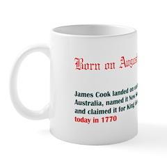Mug: James Cook landed on east coast Australia, na