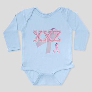 XXZ initials, Pink Ribbon, Long Sleeve Infant Body