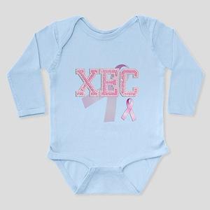 XEC initials, Pink Ribbon, Long Sleeve Infant Body