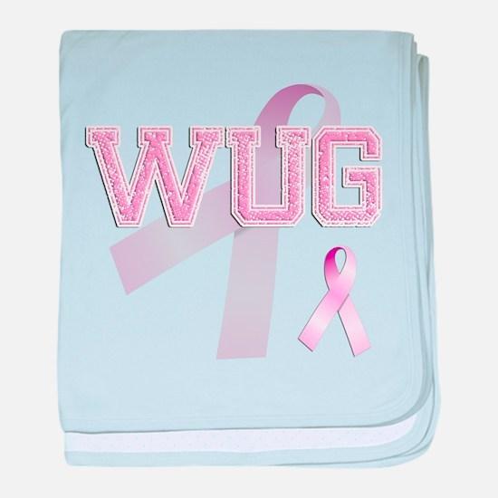WUG initials, Pink Ribbon, baby blanket