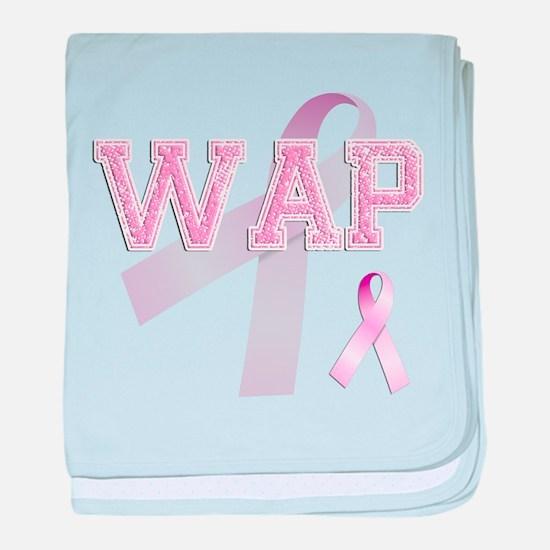 WAP initials, Pink Ribbon, baby blanket