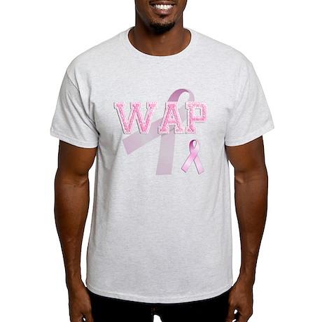 WAP initials, Pink Ribbon, Light T-Shirt