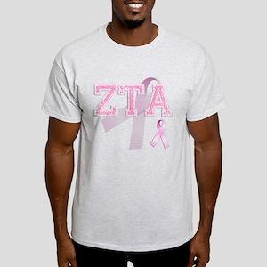 ZTA initials, Pink Ribbon, Light T-Shirt