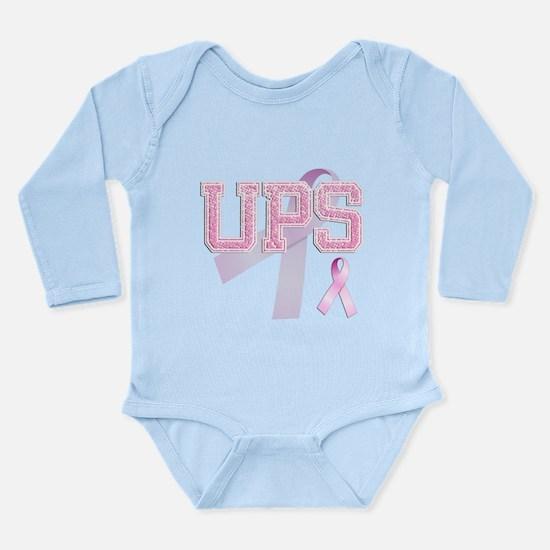 UPS initials, Pink Ribbon, Long Sleeve Infant Body