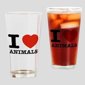 I Love Animals Drinking Glass