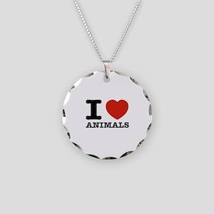 I Love Animals Necklace Circle Charm