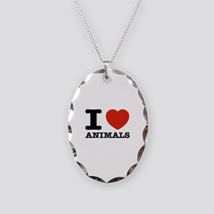 I Love Animals Necklace Oval Charm