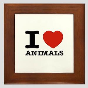 I Love Animals Framed Tile