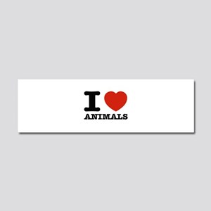 I Love Animals Car Magnet 10 x 3