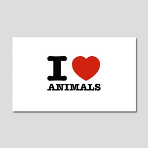 I Love Animals Car Magnet 20 x 12