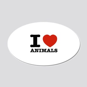 I Love Animals 20x12 Oval Wall Decal
