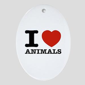 I Love Animals Ornament (Oval)