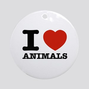 I Love Animals Ornament (Round)