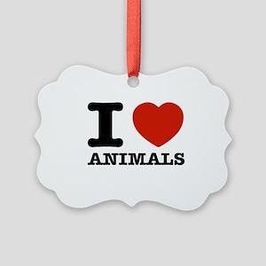 I Love Animals Picture Ornament