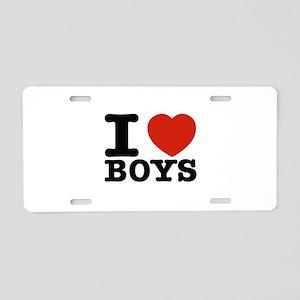 I Love Boys Aluminum License Plate