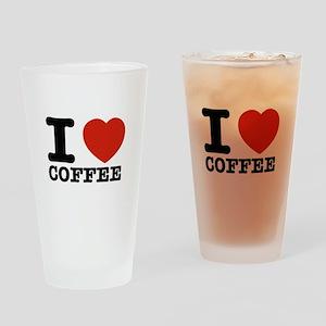 I Love Coffee Drinking Glass