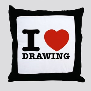 I Love Drawing Throw Pillow