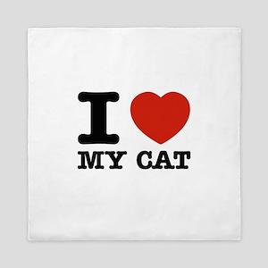 I Love My Cat Queen Duvet