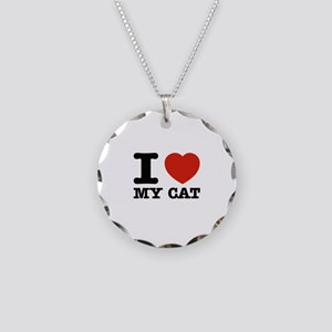 I Love My Cat Necklace Circle Charm