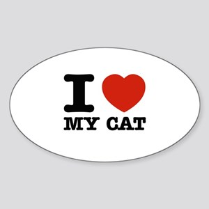 I Love My Cat Sticker (Oval)