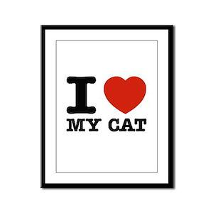 I Love My Cat Framed Panel Print