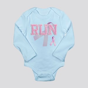 RUN initials, Pink Ribbon, Long Sleeve Infant Body