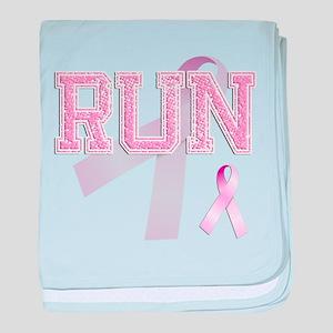 RUN initials, Pink Ribbon, baby blanket