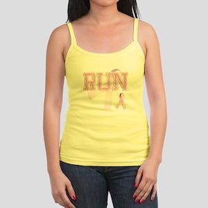 RUN initials, Pink Ribbon, Jr. Spaghetti Tank