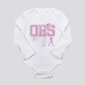 OES initials, Pink Ribbon, Long Sleeve Infant Body