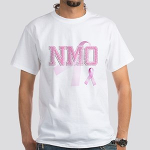 NMO initials, Pink Ribbon, White T-Shirt