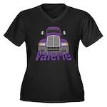 Trucker Valerie Women's Plus Size V-Neck Dark T-Sh