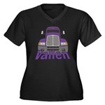 Trucker Vallen Women's Plus Size V-Neck Dark T-Shi
