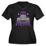 Trucker Vickie Women's Plus Size V-Neck Dark T-Shi